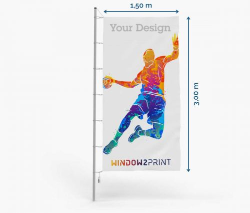 Flag - Polyester 115g - 150 x 300 cm - with hook I Window2Print